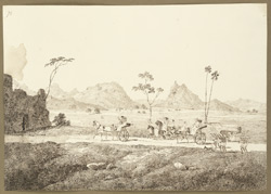 View of the Barabar Hills from the road between Bela and Jehanabad (Bihar). Englishmen and women in carriages, palanquins and on horseback. 2 January 1825